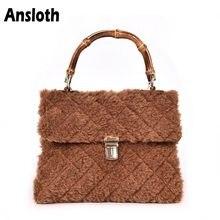 Ansloth Fashion New Design Women s Handbags Classic Plaid Shoulder Bag  Hairy Top-Handle Bags Women Faux Fur Crossbody Bag HPS311 04d5bddc2ca55