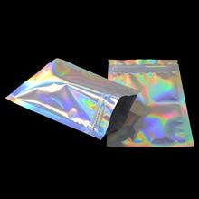 100 шт блестящая термопечать алюминиевая фольга Ziplock Сумки Плоский замок Розничная посылка сумка пластиковая фольга сумки на молнии