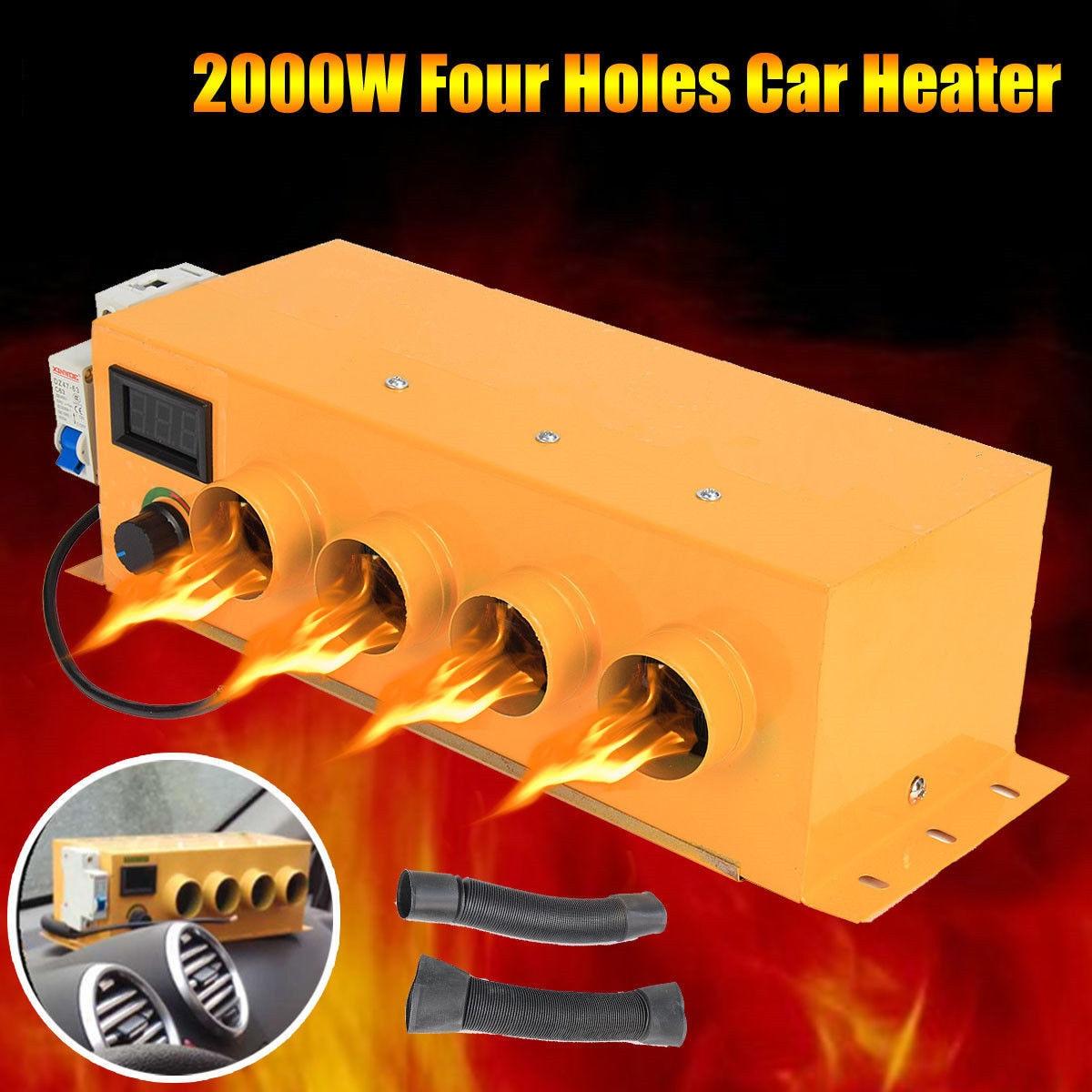 4 fori di richiamo Auto Riscaldatore 2000 w 12 v LCD Voltmetro Riscaldamento Aria Condizionata di Controllo della Temperatura Più Caldo di Vetro Della Finestra Sbrinatore Disappannatore