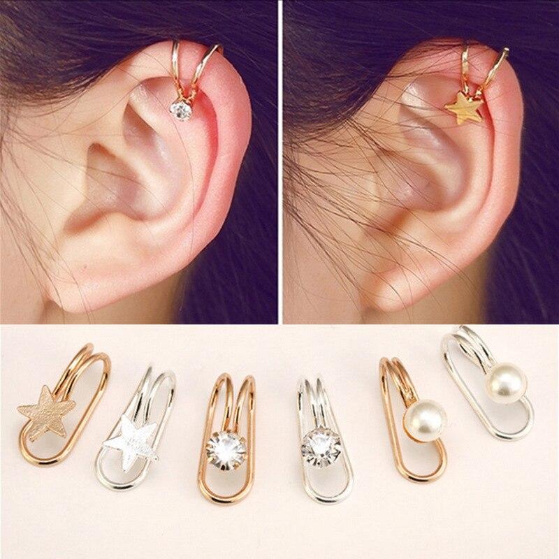 2018 Fashion Women's U-shiaped Earrings Heart Butterfly Moon Female Ear  Cuff Clip On Earrings Metal