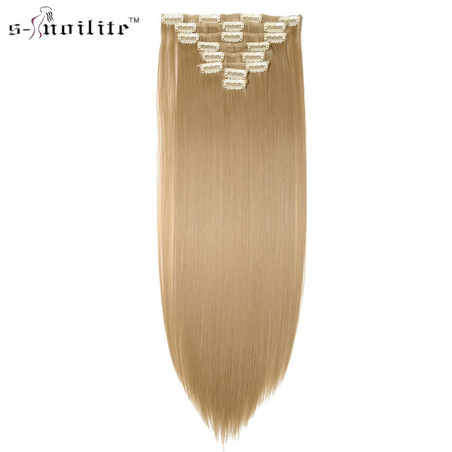 Snoilite 23inch Straight 18 Clips In Hair Styling Synthetic Hair