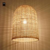 Bamboo Wicker Rattan Square Fence Shade Pendant Light Fixture Vintage Rustic Asian Hanging Ceiling Lamp for Dining Room E27 Bulb