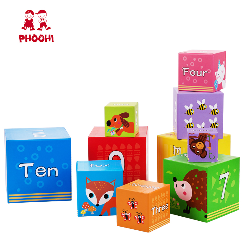 Paper Stacking Cubes Toy Kids Nesting Boxes 10 PCS Educational Alphabet Number Block For Toddler PHOOHI