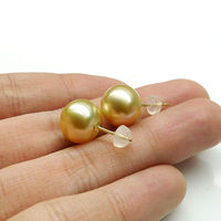 Top Luster 10.6mm Natural Gold South Sea Pearl Ear Stud Earrings jewerly Yellow Gold