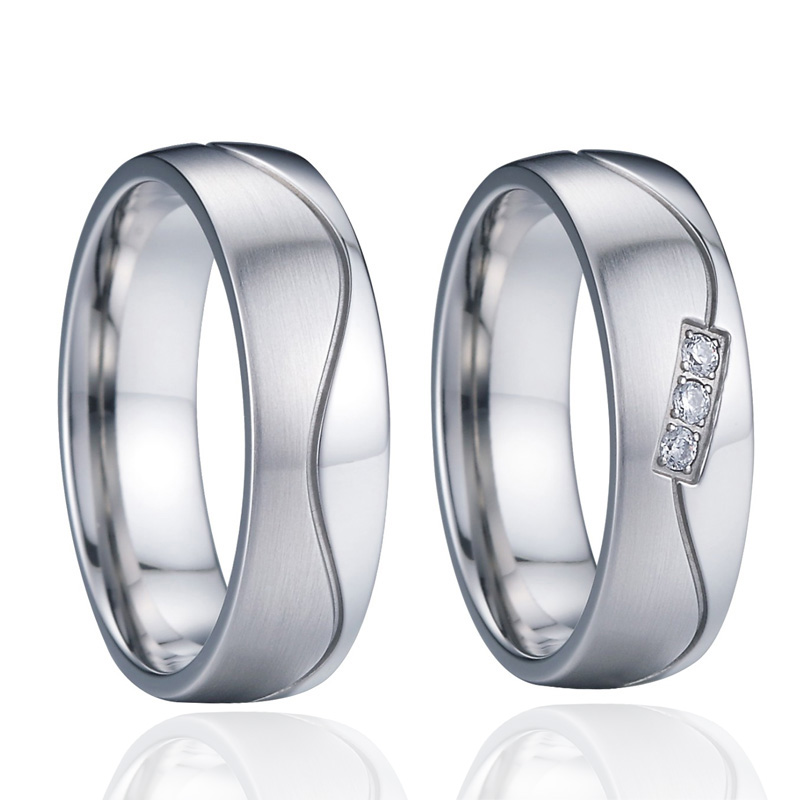 Mens anniversary gifts wedding band jewelry ring Silver white gold color lovers partner marriage couple rings for women