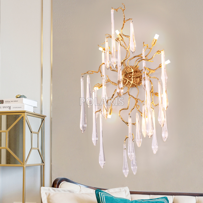 все цены на Art Decor Glass Drop Crystal Chandelier LED Wall Sconce Lamp Brass Wall Light Copper Wall Lighting for Home Hotel Bed Room Decor