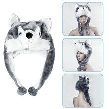 Мультфильм животных Стиль капюшон шапка с дизайном «волк» капюшоны шапочки милые пушистые детские шапки мягкий теплый шарф наушник плюшевая шапка в виде хаски