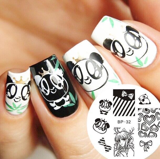 1PC Cartoon Cute Panda Nail Art Stamping Plates Nails Template Image ...