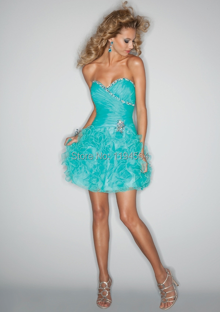 Turquoise Ruffles Organza 2015 Summer Cocktail Party Dress Short Ball Gown  Sweet 16 Beading Lace Up 81606b01ed45