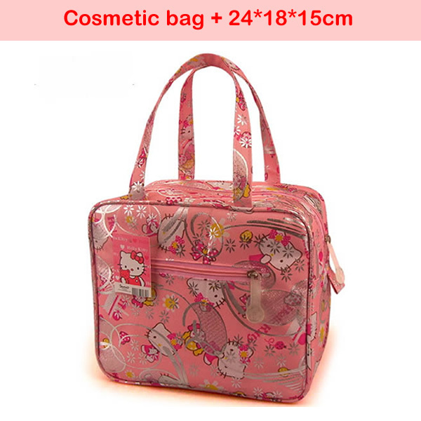 Free shipping 2015 hot sale hello kitty Cosmetic bag Women Casual makeup case High quality Outdoor lunch box bags for woman