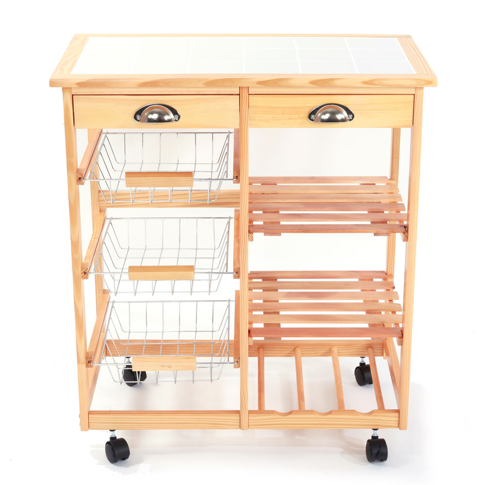 Kitchen & Dining Room Cart 2-Drawer Removable Storage Rack with Rolling Wheels Wood ColorKitchen & Dining Room Cart 2-Drawer Removable Storage Rack with Rolling Wheels Wood Color