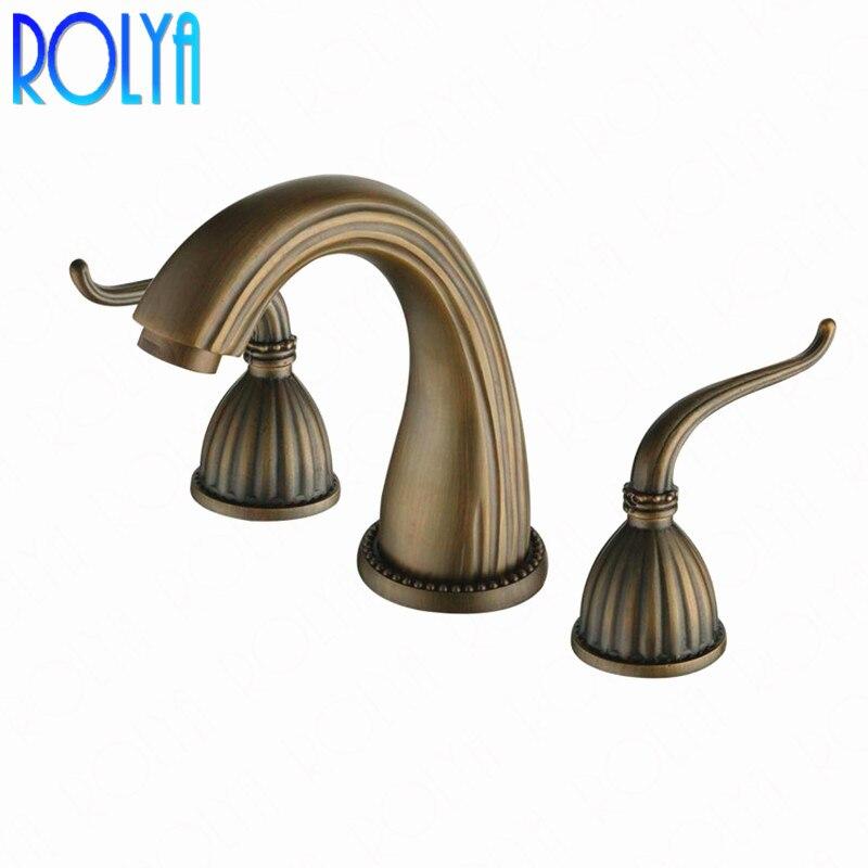 Rolya laiton Antique 8 pouces robinet de lavabo répandu salle de bain Vintage Style ancien mitigeur de lavabo