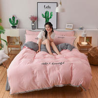 3 Pcs Bedding Set Adult Female Soft Duvet Cover Pillowcase Bed Sheet Washed Cotton Embroidery Tassel Duvet Cover Free Shipping