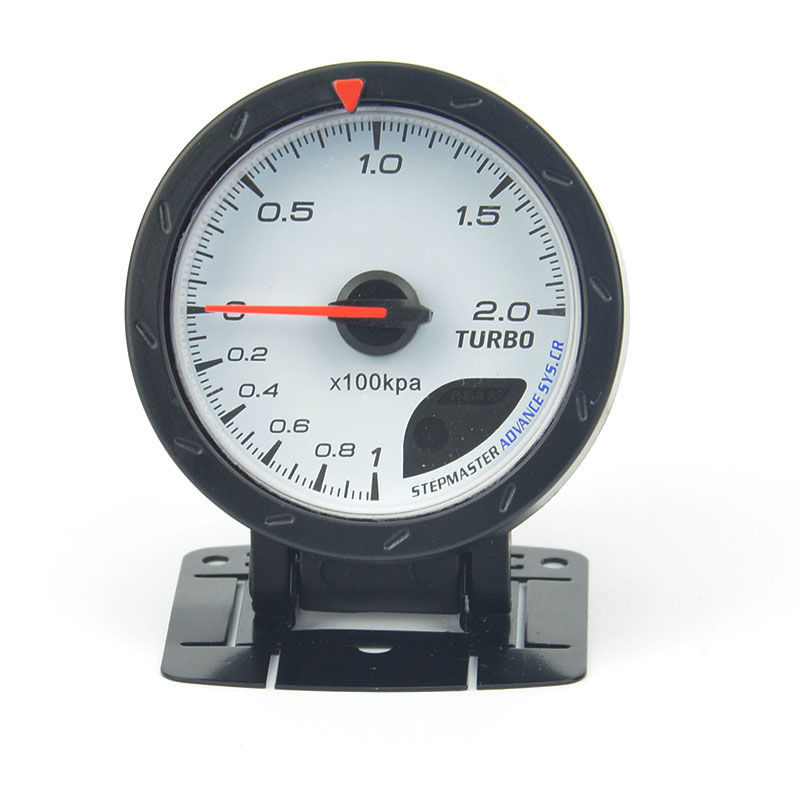 60MM White face Boost gauge Red & White Lighting 1-2 kpa/Turbo Boost Pressure Reading Car Meter With Sensor/Auto Gauge boost reading 2 cd rom