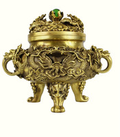 Special offer TOP collection Home Decor Religious Buddhism censer imperial 9 dragons incense burner Brass statue Decoration