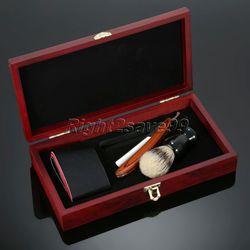 Kit de caja de madera para afeitado, juego de maquinilla de afeitar con mango de madera para hombre