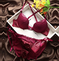 2017 new Japanese brand W shape front closure intimates sexy lace push up bra set VS pink lingerie femme set underwear women
