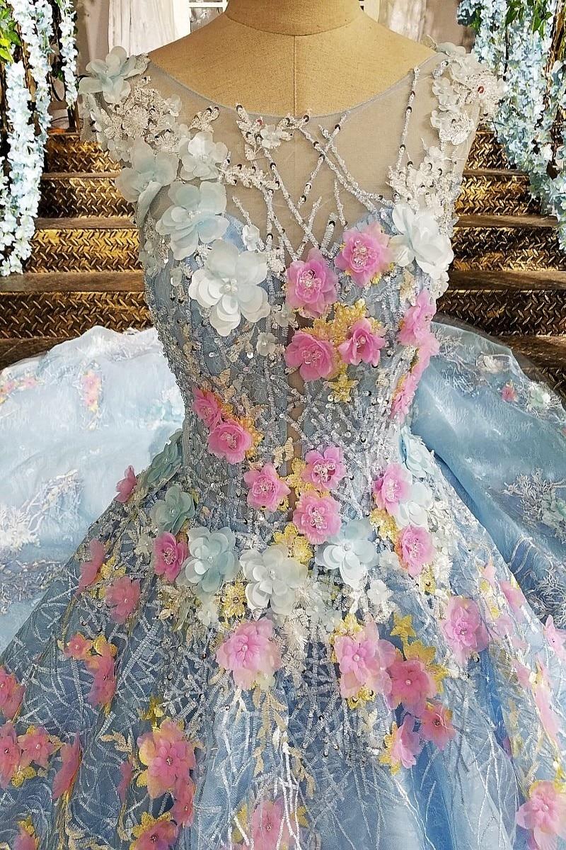 2017 del merletto 3D colorato fiore nuziale del vestito convenzionale plus  size light blue di maternità abito da sposa treno lungo xj00176 in 2017 del  ... c4d0e3e556a
