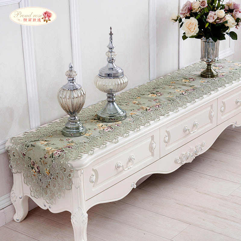 Proud Rose Embroidery Table Runner Lace Table Runner Bed Flag TV Cabinet Cover Cloth Pastoral Table Flag Table Cloth Home Decor