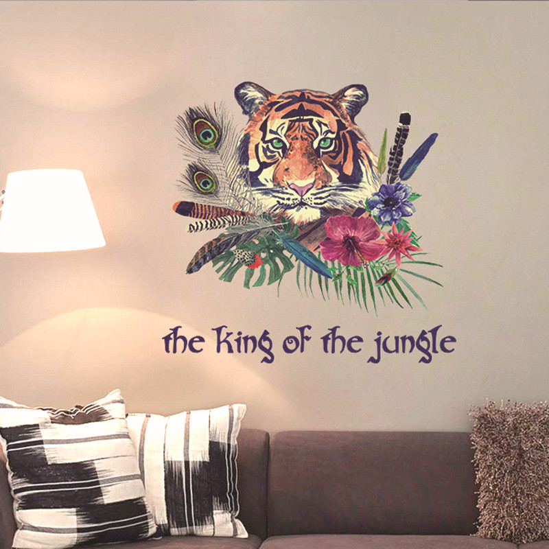Creative simulation hand-painted tiger avatar wall stickers living room study office dec ...