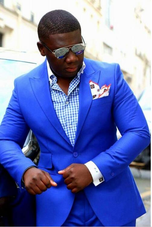 2017 Latest Coat Pant Design Royal Blue Tuxedo Prom Men Suit Slim