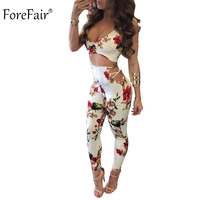 ForeFair Criss Cross Empire Sexy Club Jumpsuit Floral Long Pants Combinaison Femme Skinny Backless Jumpsuits Women