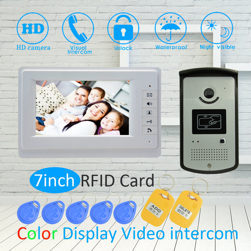 (1 SET) white color 7 Inch LCD Monitor RFID Unlock Function HD Night Vision IR Camera Video Door Phone System Doorbell Intercom ...