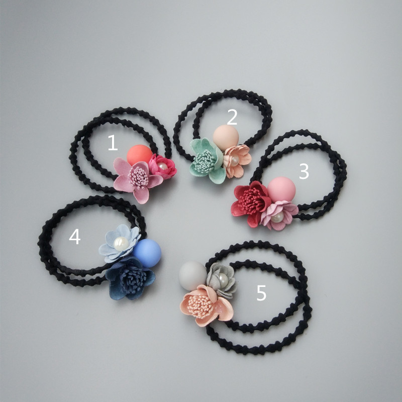 New Bead Flowers Children Hair Ropes Girls Accessories Girls Headwear Baby Elastic Hair Bands Kids Headdress fashion girls solid color headbands newborn infant hair accessories children elastic hair bands kids headwear baby headdress