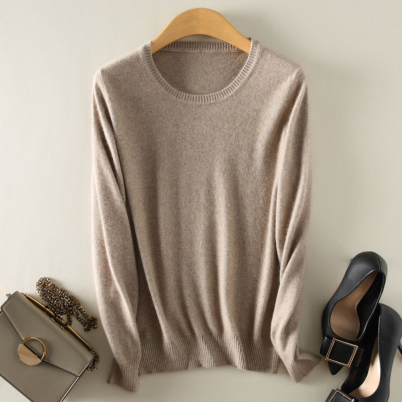 QIAOFEISHANG  Cashmere wool Sweater Women solid color Pullover o-neck sweater Long sleeve Knitted clothes