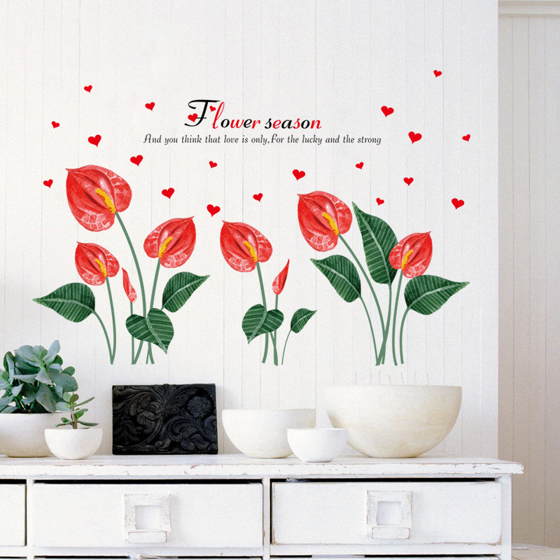 Beautiful anthurium flower self adhesive wall stickers