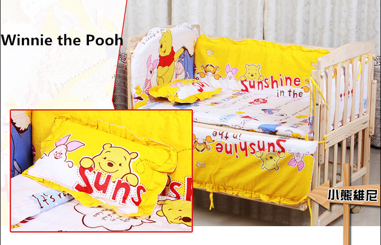 Promotion! 6PCS Baby Bedding Set 100% cotton Comfortable Crib Bedding Set Baby Bed (3bumper+matress+pillow+duvet) baby bedding set 5 pcs 100