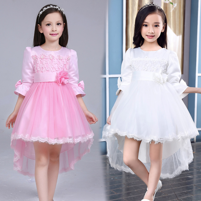 Girls Dovetail Dress Flower Girls Asymmetric Wedding Dresses New Year Princess Party Tutu Dress For Girls 2 4 6 8 10 12 14 Years