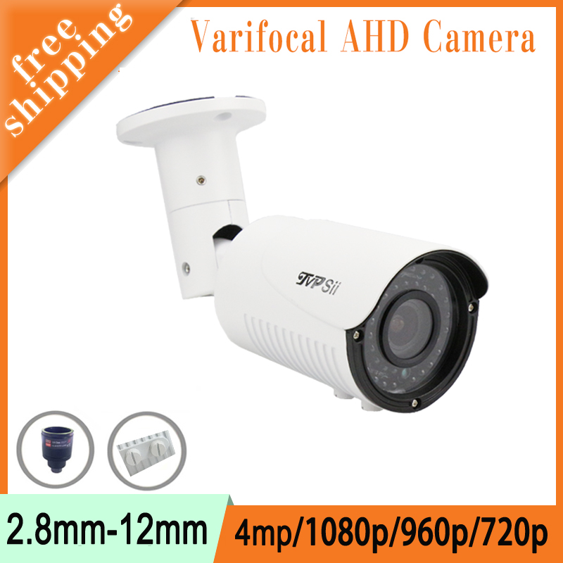 Metal Case Two Array infrared Leds 2.8mm-12mm Varifocal Lens 1080P/960P/720P white AHD CCTV Security Camera Free Shipping 3megapixel dc auto iris varifocal cctv lens 2 8 12mm cs mount for 720p 1080p box camera ip ahd camera free shipping