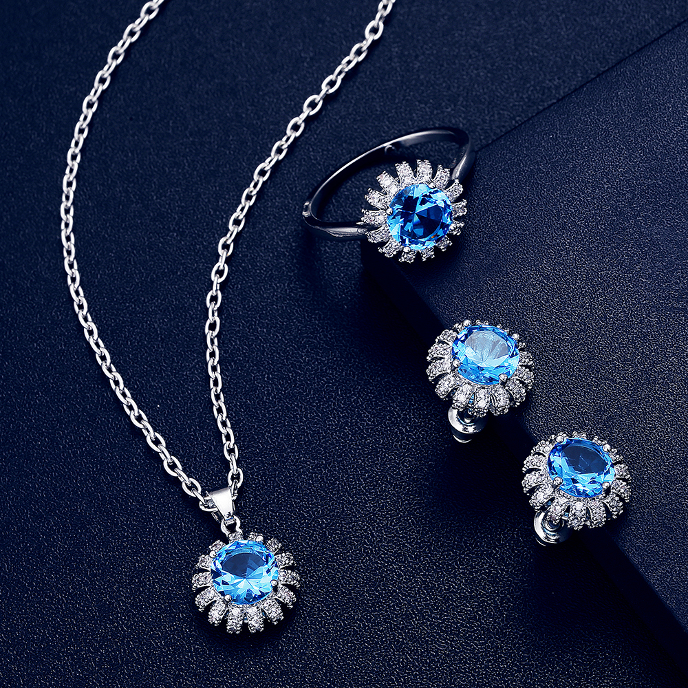 Fashion Flower Crystal Jewelry Set For Women Statement Boho CZ 7 Colors Necklace Pendant Stud Ear Earring Ring Trendy Jewelry