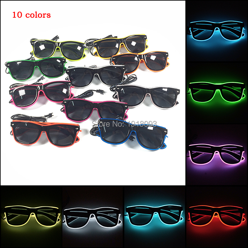 2019 New Arrival 10 Colors Select EL Wire Sunglasses With Dark Lens Neon Novelty Lighting Glasses Costume Party Bright Glasses