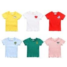 Новинка; летняя хлопковая Однотонная футболка с принтом для маленьких девочек; топы; блузка для детей; Повседневные детские футболки с короткими рукавами для девочек