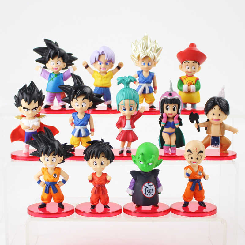 13 pçs/lote Figuras De Dragon Ball Z Son Goku Bulma Gohan Goten Vegeta Trunks Piccolo Pan Chichi Anime DBZ Kuririn Modelo brinquedos