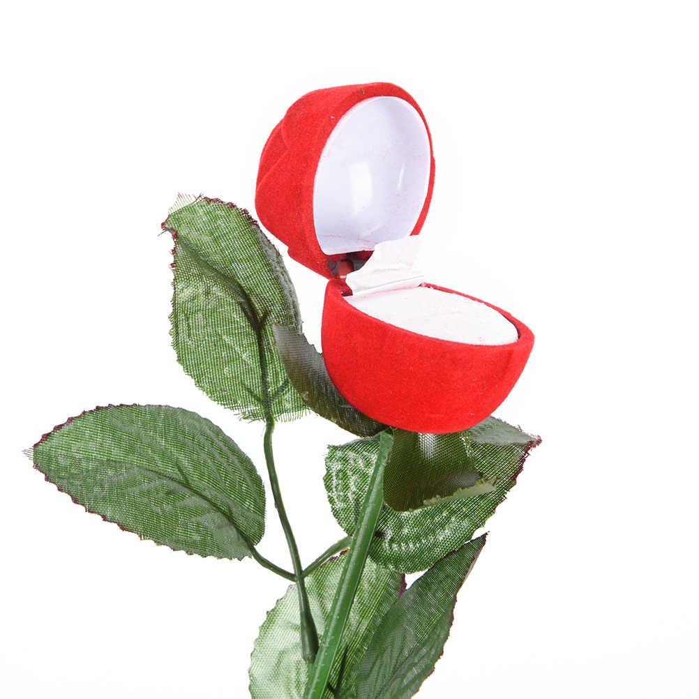 1 stück Rote Rose Blume Samt Schmuck Aufbewahrungsbox Verlobungsring Box Heiraten rosen Ring geschenk box hochzeit dekoration