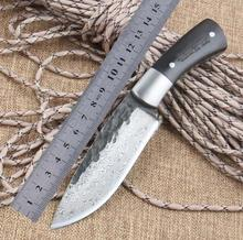 High-end 58HRC Straight Handmade forged Damascus Steel hunting knife fixed blade knife ebony handle outdoor camping Knives tools