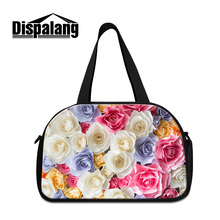 Dispalang cute colorful rose travel duffle bags for girls women's luggage travel handbags with independent shoes pocket trip bag