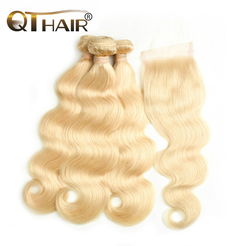 QT Peruvian Body Wave Hair 613 Blonde Human Hair 3/4 Bundles With 4x4 Closure Non Remy Hair Extensions