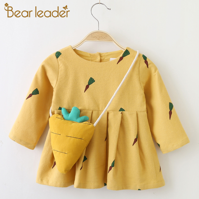 Bear Leader Baby Dresses 2018 New Spring Baby Girls Clothes Cute Rabbit Ears Printing Princess Newborn Dress Suit For 6M-24M
