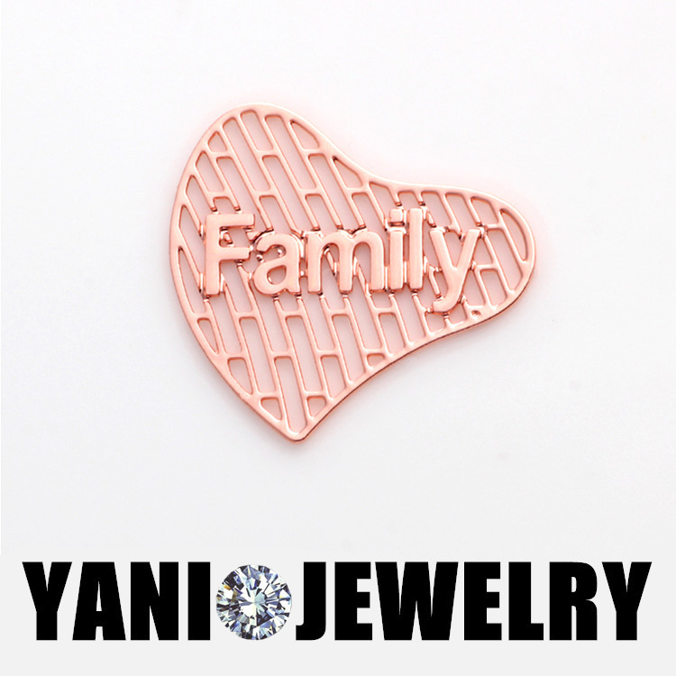 20pcs/lot Free Shipping Rose Gold Heart Shape Family Floating Plates Window  Plates For Heart Floating Locket Charms-in Charms from Jewelry &