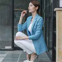 Large Size Blazer Women Spring Casual Three Quarters Sleeve Linen Suit Jacket Candy Color Ladies Blazers