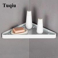 Corner Shelf Black/White/Silver Bathroom Shelf Aluminum Glass Shelf Wall Mounted triangle Shower Caddy Rack Bath Accessories
