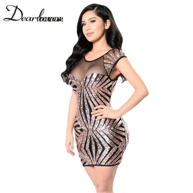 Dear Lover Sexy Women Party Mini Dress 2017 Gold Sequin Mesh Cutout