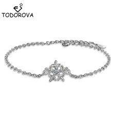 Todorova Clear Zircon Winter Snowflake Chain Link Bracelet Fit Wedding Bracelets for Women Girl Kids Gifts