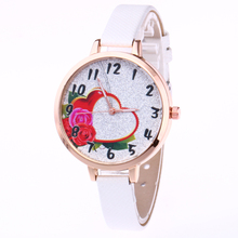 Easy New Scholar Lady Girls Watch Quartz Timer PU Leather-based flower coronary heart Dial Clock Wristwatch Ladies