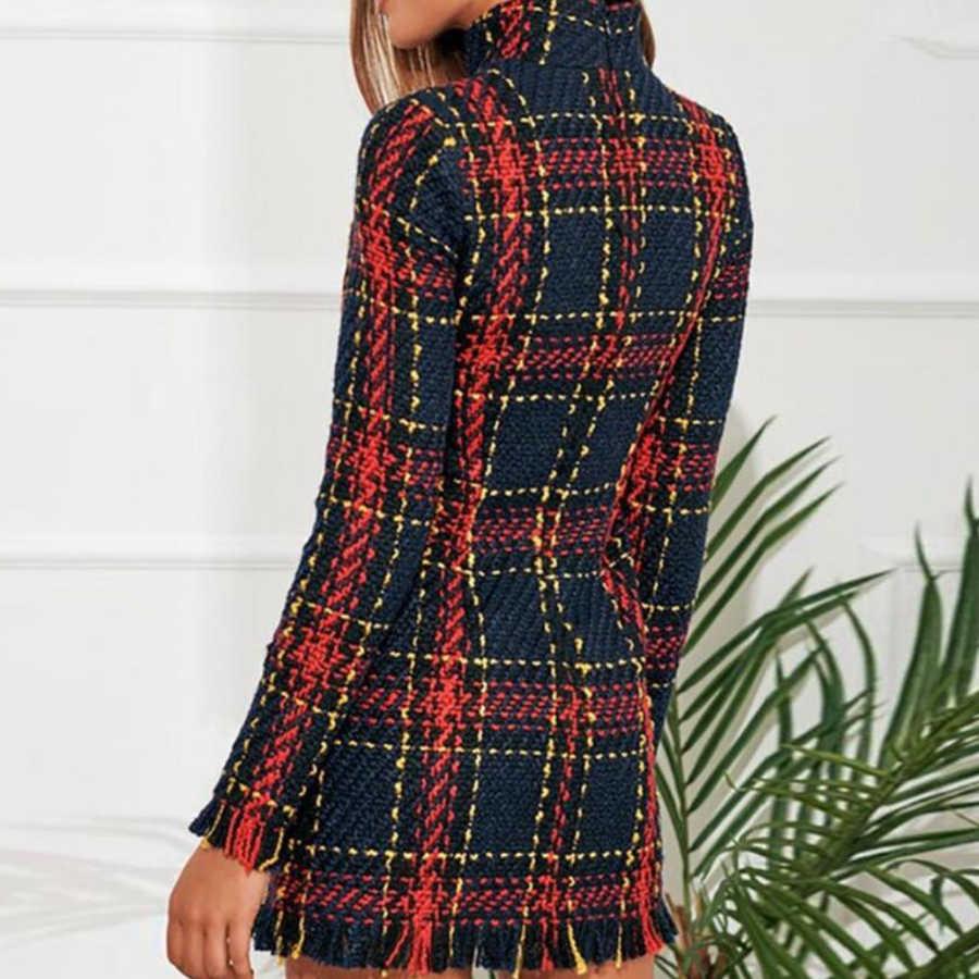 ストライプ毛深いドレス女性ファッション長袖タッセルハイネックドレス女性カジュアルジッパースリムミニタイトな A ラインドレス女性