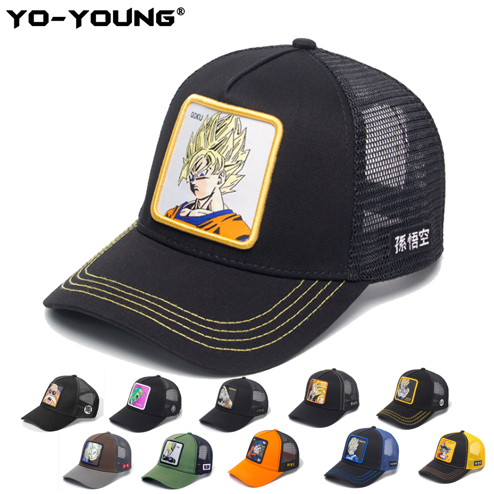 Yo-Young   Baseball     Caps   Quality Anime Dragon Balls Mesh   Caps   Male Female Gorra Goku Kids Snapback   Caps   For Adult Sun Hat 53-59 cm